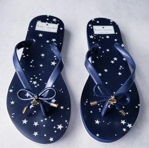 Kate Spade navy star flip flops like new 10
